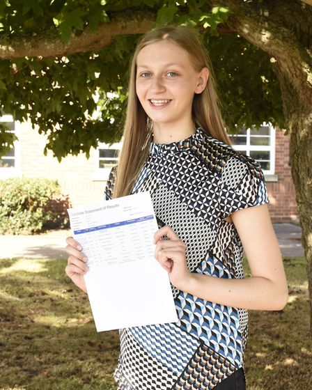 Eve Smith at SET Beccles School on GCSE results day 2020. PHOTO: Charlotte James Photography