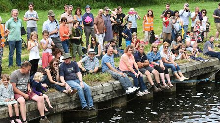 The Great Bungay Duck Race on the River Waveney next to Falcon Meadow.The puddle duck fancy dress ra