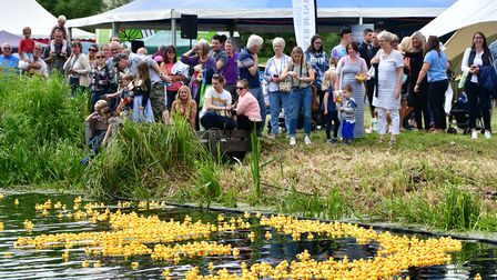 The Great Bungay Duck Race held on the River Waveney on Falcon Meadow raising money for the charity