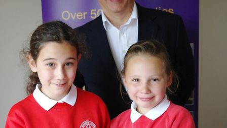 Nine-year old Megan Norgate and Grace Simpson, 10, from All Saints' Primary School in Winfarthing, c