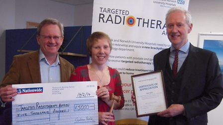 From left to right, John Fry, NNUH Chairman, Rebecca Mayhew, Durrants Auction House Manager and Nick