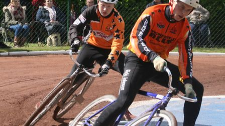 Action from the British Under-19s cycle speedway championships at Hethersett on Saturday.