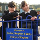 Eccles, Hargham and Wilby Primary school is threatened with closure. Pictured are Louise and Harry C