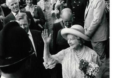 The Queen Mother meets crowds during her walkabout in Harleston on July 26, 1982
