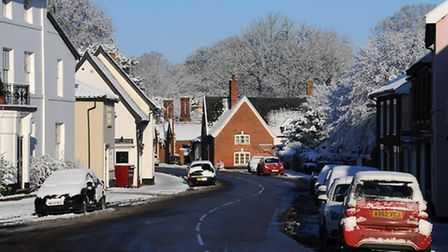 Clear roads in a snow covered Eye town centre. Photograph Simon Parker