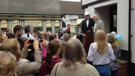 Ian Lavender and Rick Wakeman open the Feline Care charity shop in Diss.