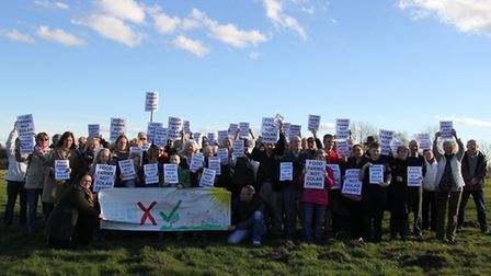 Residents campaign against the Lopham solar farm.