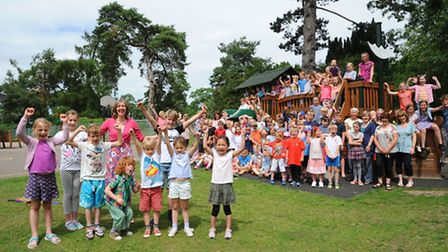 Forncett Primary School celebrate their outstanding Ofsted.