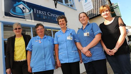 First Choice Home Care move to Mere Street in Diss. Jenny Daynes, Roz West, Jenny Land, Chloe RIch,