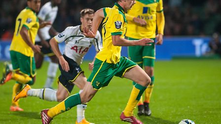 EARNING HIS SPURS: East Harlings Cameron King in action during his two-goal performance for Norwich