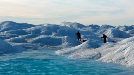 Ian Couch and Ben Thackwray skiing across Greenland.