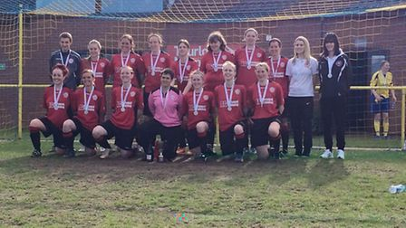 CUP WINNERS: The Wymondham Town Ladies team who beat Brandon Ladies 2-0 at Plantation Park to win th