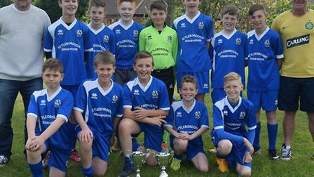 DOUBLE: League and Cup winners Attleborough U12s, with managers Paul Allen and Rob McGeachy.