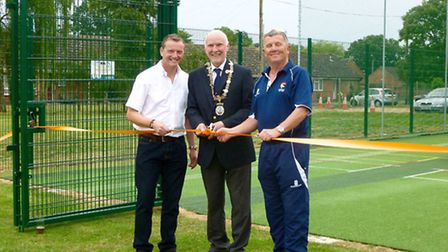 PROUD MOMENT: Diss CC chairman Martin Fairweather, town mayor Julian Mason and Mike Banham from the