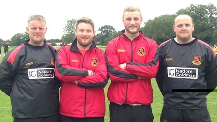 READY FOR NEW SEASON: The new seniors coaching team at Wymondham, left to right, Gavin Airdrie, thir