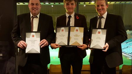 EVENING TO REMEMBER: Diss Towns Mark Channell, Ashley Baxter and Mark Burrows with the awards at the