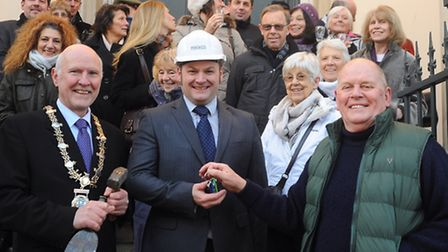 Celebrating the start of the renovation work at Diss Corn Hall with the hand over of the keys by Dav