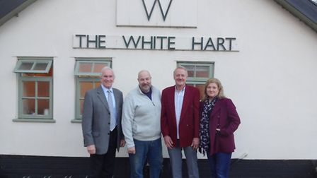 Alan Crowest (left), TW Gaze, with the White Hart's old owner Paul Meredew (left) and new landlords