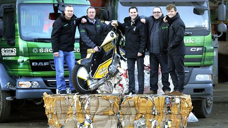 Sackers Recycling announce their sponsorship of Ipswich Witches Speedway. Left to right, are, Leigh