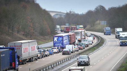 Traffic chaos on the A14 due to an rtc on the Orwell Bridge.