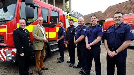 Firefighters at Sudbury Fire Station with MP Tim Yeo on a visit to the station
