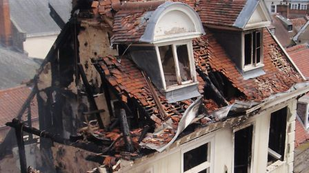 The destruction at Cupola House, home to Strada restaurant, in The Traverse, Bury St Edmunds, caused