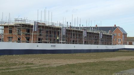 New homes under construction on the first phase of Felixstowe's south seafront site.