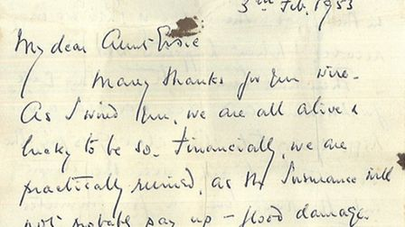 Extracts from a letter written on February 3 1953 from someone in Southwold during the time of the f