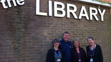 Staff at Stowmarket Library, Patricia Lawrence enquiry officer, Neil Brittain library volunteer, An