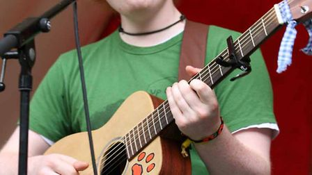 Ed Sheeran performs at Ipswich Music Day. Picture: Jenny O'Neill