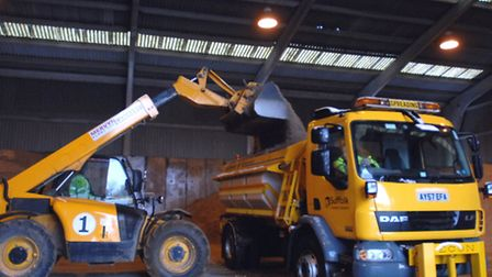 A gritter being prepared.