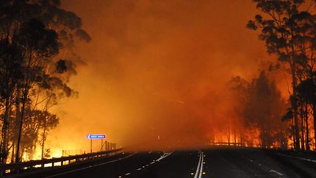 In this photo provided by the New South Wales Rural Fire Service a wildfire near Deans Gap, Australi