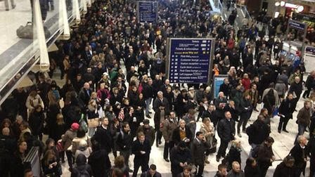 Commuters faced chaos at London Liverool Street. Pic: Rob Kingham.