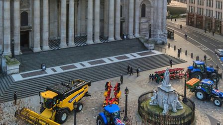 Farm machinery outside St Paul's Cathedral as it takes part in Plough Sunday celebrations