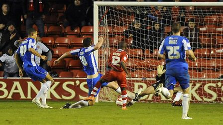 Febian Brandy scores the winner against Colchester last month, but he will be suspended for the retu