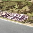 Artist impression of Sizewell C. The new powerstation shown in lighter grey.