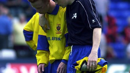 UPSET: Hadleigh's Shane Wardley, back in 2004 (left), disappointed after AFC Sudbury's Vase final de