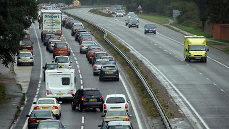 A multi-vehicle crash has closed part of the A14