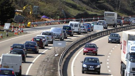 Broken down vehicles are causing delays in Ipswich and on the A14