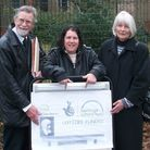 Dr Janet Massey, playwright Suzanne Hawkes and campaigner Michael Ninnmey celebrate gaining £10,000