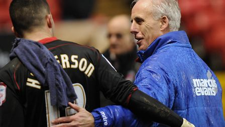 Mick McCarthy has a smile for his keeper Stephen Henderson after the win at Charlton on Boxing Day