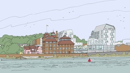 Artist's impression of how Cliff Quay and the former Tolly Cobbold brewery site could look