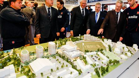 Club bosses view a model of Essex County Cricket ground