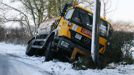 The gritter in the ditch outside Little Waldingfield