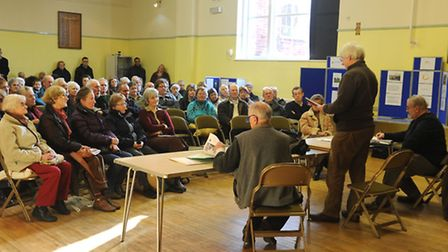 The launch of Saxmundham's Town Plan at the Market Hall last year