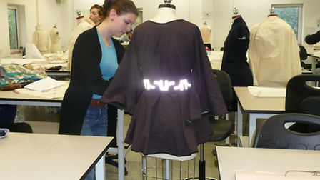 Former Farlingaye High School pupil Rosi Shuster working on her sportswear designs at Falmouth Unive