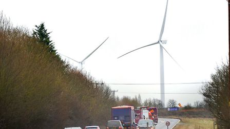 New wind turbines in Eye, Suffolk. The two turbines have been erected on Eye Airfield Industrial Sit