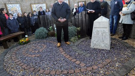 Ian Heeley MBE gives a speech at the rededication ceremony at the Felixstowe Flood Memorial on the 6