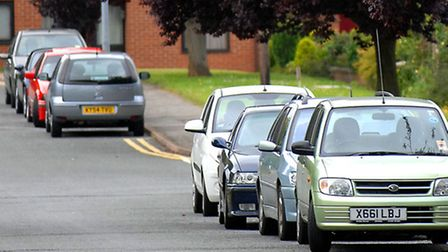 Cars parked in a residential street in Bury St Edmunds