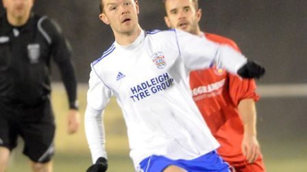 Hadleigh United's Lee McGlone (white shirt) scored twice against Mildenhall Town in Tuesday's 2-1 wi